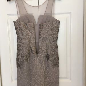 BCBGMaxAzria Dresses - Taupe and gray lace dress for formal occasion
